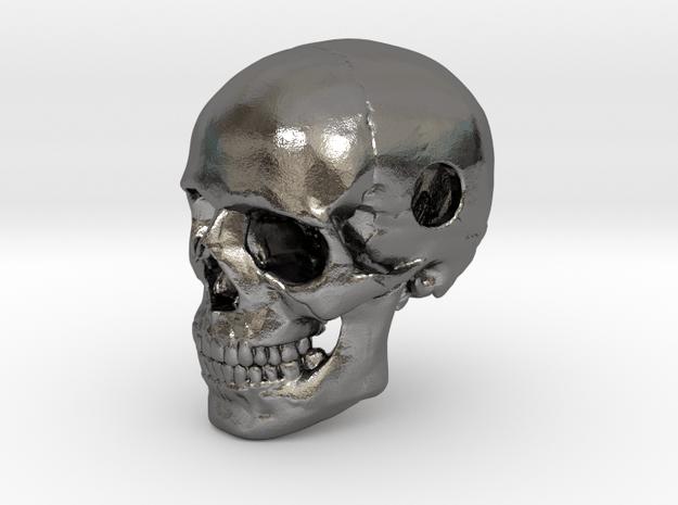 25mm 1in Bead Human Skull Pendant Crane Schädel in Polished Nickel Steel