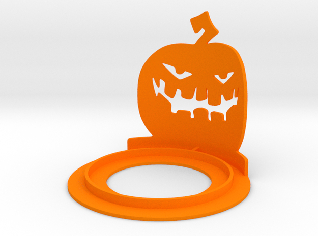 Halloween Pumpkin Tea Candle Holder in Orange Processed Versatile Plastic