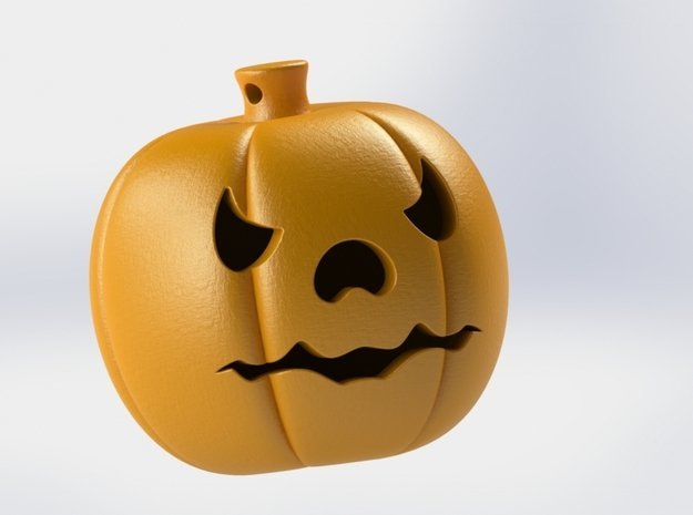 Pumpkin Keychain in Orange Processed Versatile Plastic