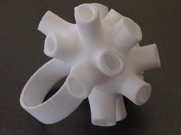 Tubey Ring  in White Natural Versatile Plastic