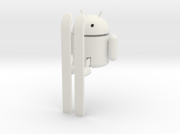 Android Robot on Skis in White Natural Versatile Plastic