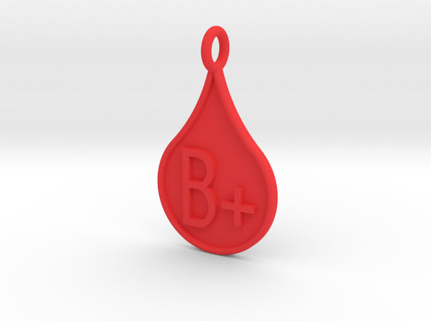 Blood type B+ in Red Processed Versatile Plastic