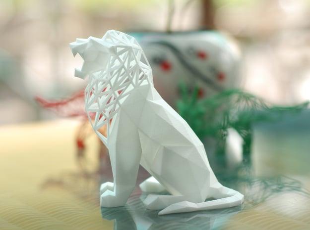 Roaring Lion in White Natural Versatile Plastic
