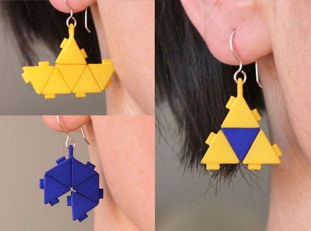 Triangle Block Earrings in Yellow Processed Versatile Plastic