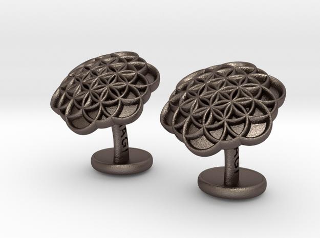 Flower of Life Cufflinks in Polished Bronzed Silver Steel