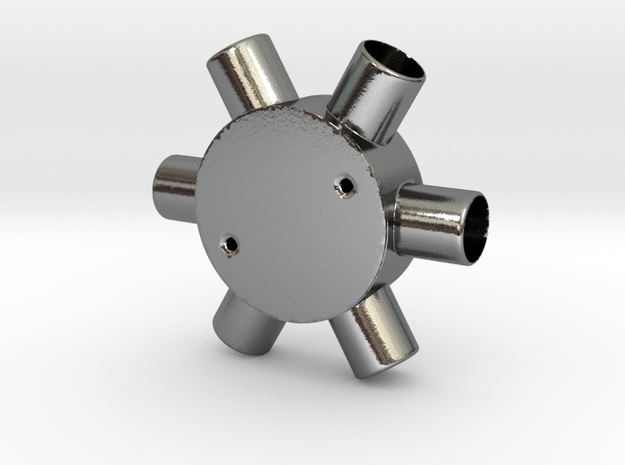 Six Way Junction box in Polished Silver