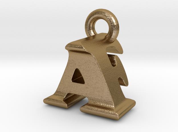 3D Monogram Pendant - AFF1 in Polished Gold Steel