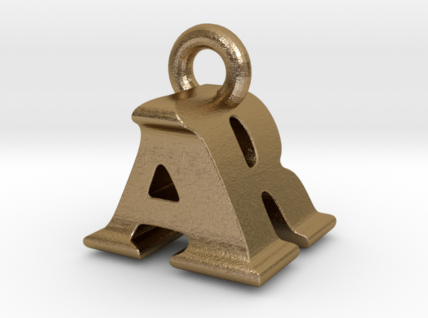 3D Monogram Pendant - ARF1 in Polished Gold Steel