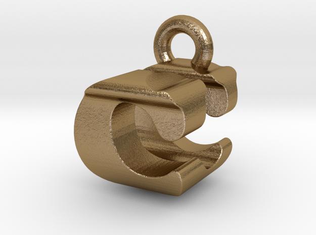 3D Monogram Pendant - CUF1 in Polished Gold Steel