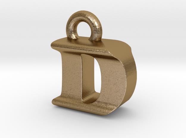 3D Monogram Pendant - DIF1 in Polished Gold Steel