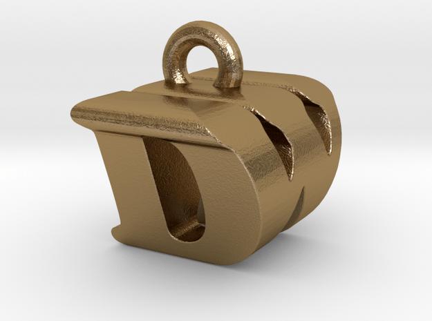 3D Monogram Pendant - DWF1 in Polished Gold Steel