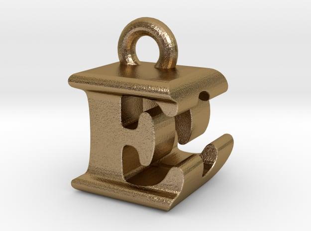 3D Monogram Pendant - EDF1 in Polished Gold Steel