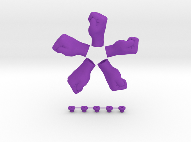 In Your Face! - Hook / Fridge Magnet [5pcs] in Purple Processed Versatile Plastic