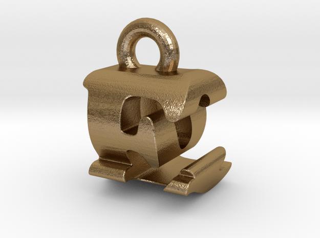 3D Monogram Pendant - EQF1 in Polished Gold Steel