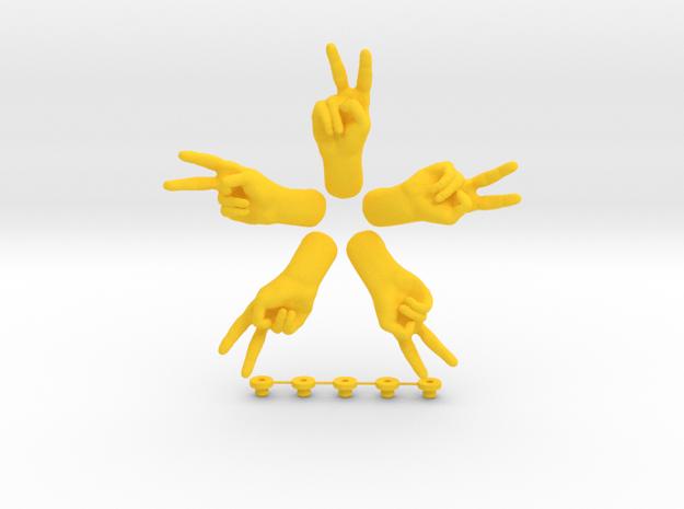 Peace  • Hook  / Fridge Magnet [5pcs] in Yellow Processed Versatile Plastic
