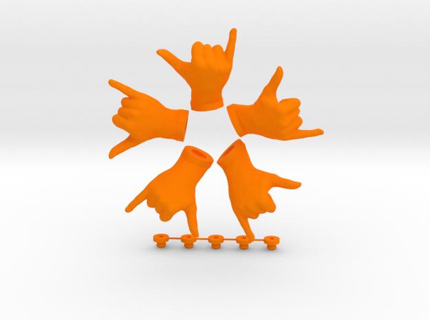 Cool • Hook  / Fridge Magnet [5pcs] in Orange Processed Versatile Plastic