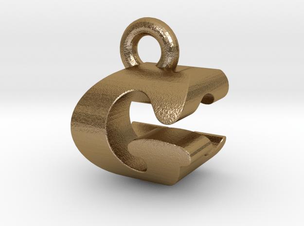 3D Monogram Pendant - GCF1 in Polished Gold Steel