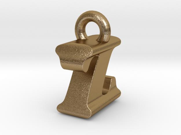 3D Monogram Pendant - IZF1 in Polished Gold Steel
