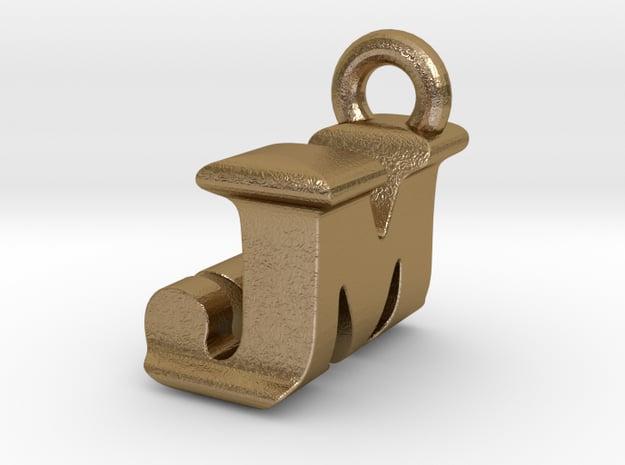 3D Monogram Pendant - JMF1 in Polished Gold Steel