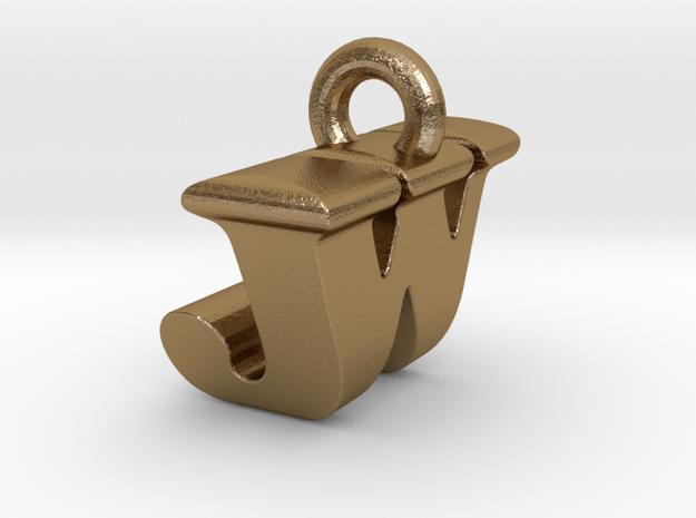 3D Monogram Pendant - JWF1 in Polished Gold Steel