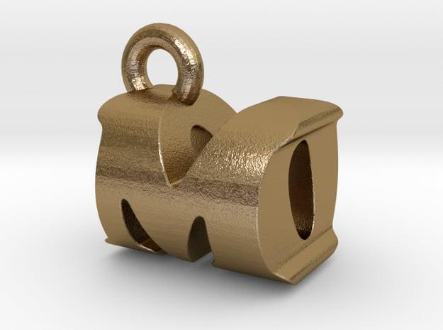 3D Monogram Pendant - MOF1 in Polished Gold Steel