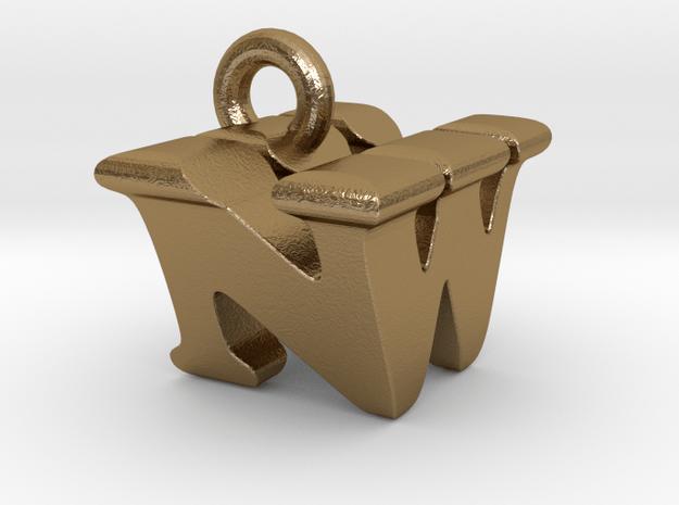 3D Monogram Pendant - NWF1 in Polished Gold Steel