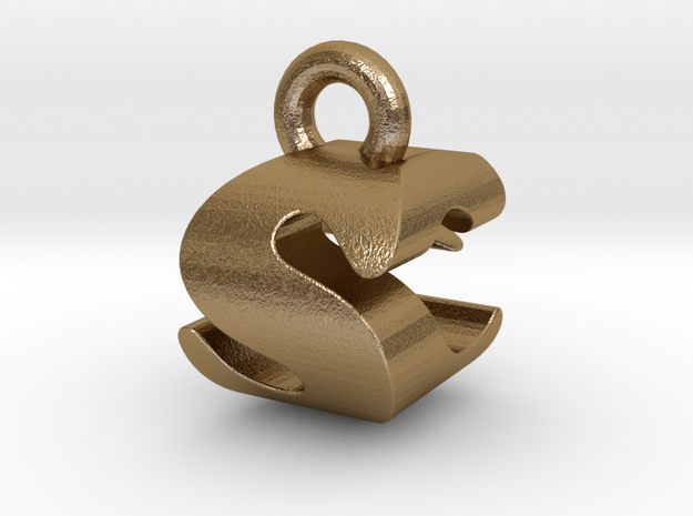 3D Monogram - SCF1 in Polished Gold Steel