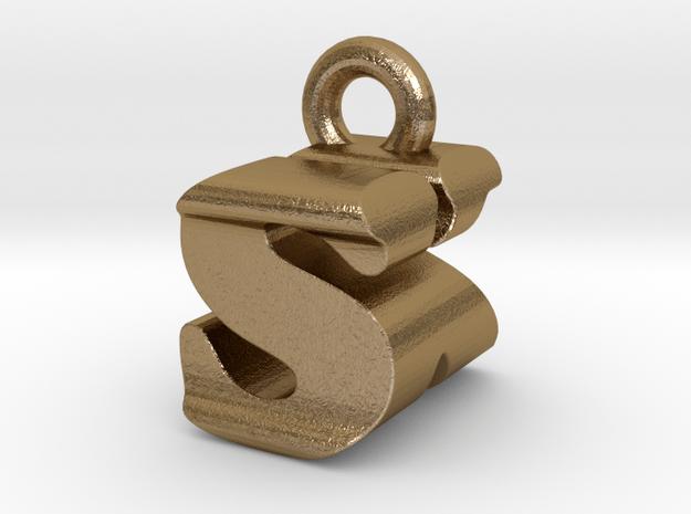 3D Monogram - SKF1 in Polished Gold Steel