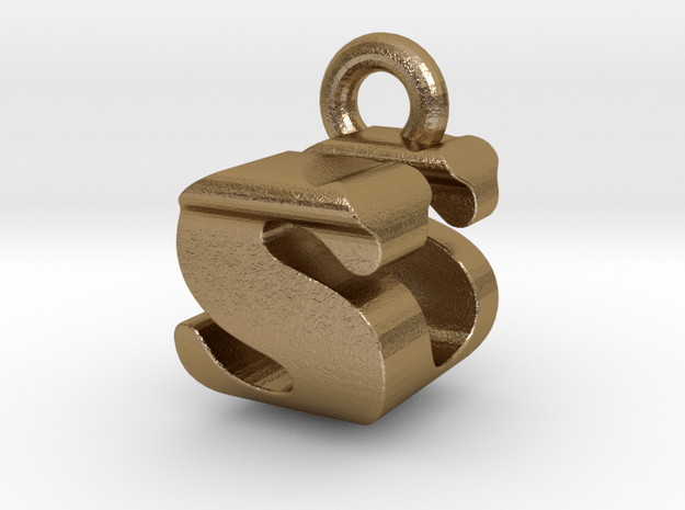 3D Monogram - SUF1 in Polished Gold Steel
