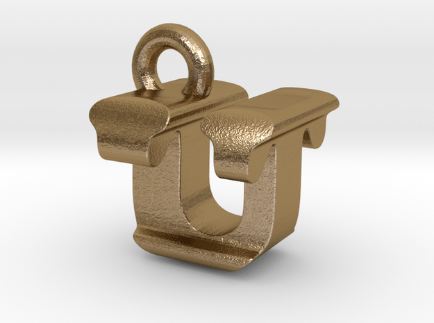 3D Monogram - UTF1 in Polished Gold Steel