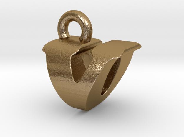 3D Monogram - VOF1 in Polished Gold Steel