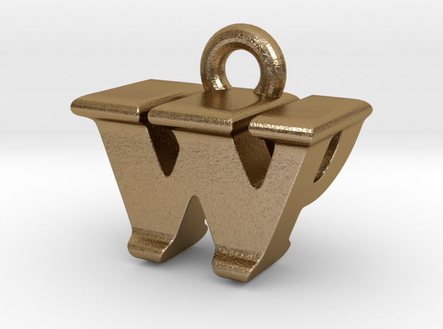 3D Monogram - WPF1 in Polished Gold Steel