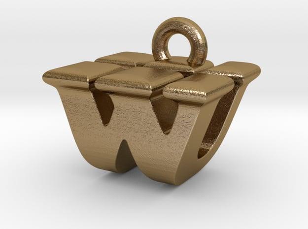 3D Monogram - WUF1 in Polished Gold Steel