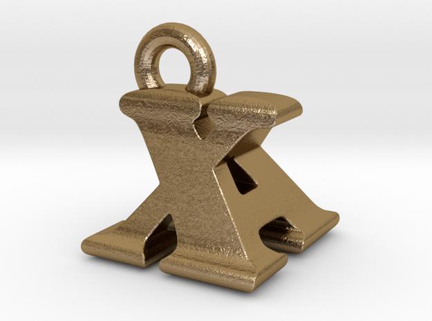 3D Monogram - XAF1 in Polished Gold Steel
