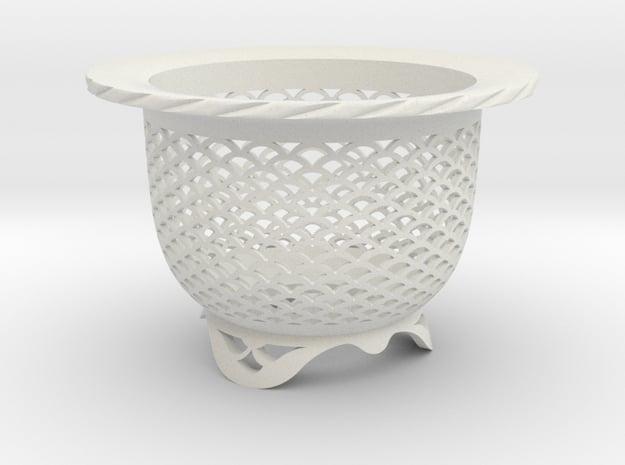"Neo Pot - Model 4 - Size 3.5 (3.2"" ID) in White Natural Versatile Plastic"
