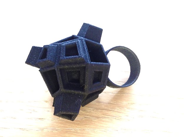 Blocky Ring in Black Natural Versatile Plastic