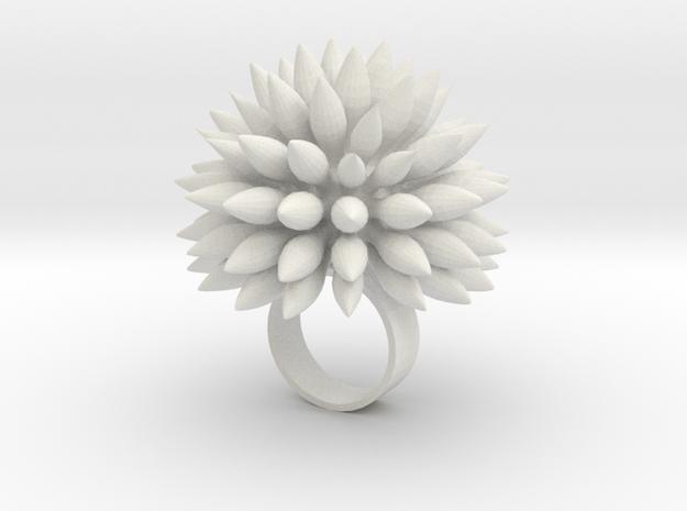 Dahly Ring in White Natural Versatile Plastic