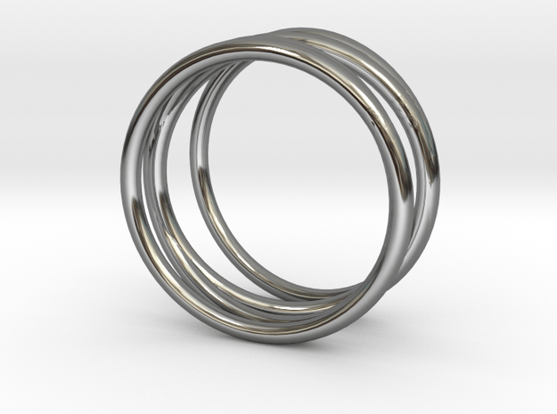 Finger Cage Ring - Sz. 6 in Fine Detail Polished Silver