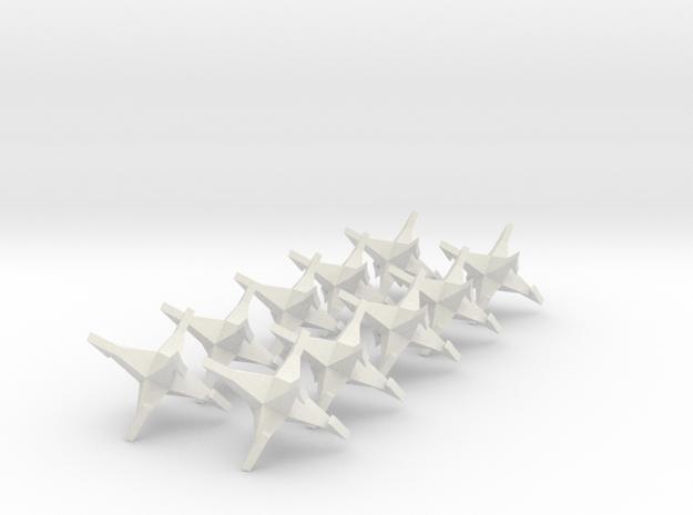 CaltropsX10 in White Natural Versatile Plastic