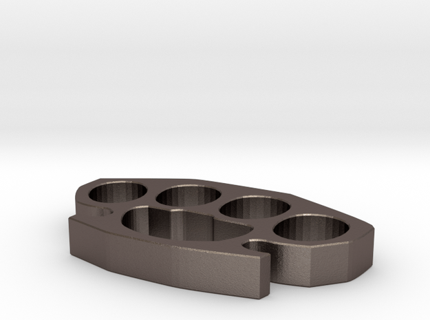 Brass Knuckles in Polished Bronzed Silver Steel