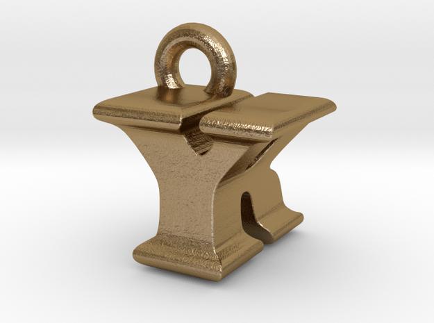 3D Monogram - YRF1 in Polished Gold Steel