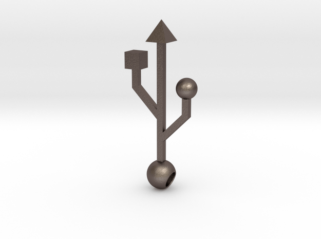 USB: Pendant in Polished Bronzed Silver Steel
