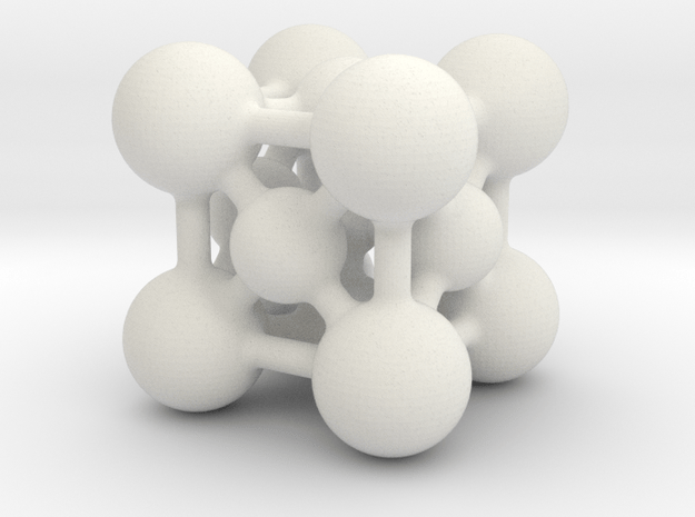 Perovskite (ABO3) Crystal Structure (2cm) in White Natural Versatile Plastic