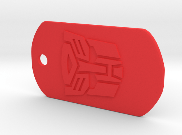 Autobot Dog Tag in Red Processed Versatile Plastic