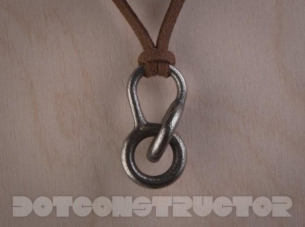 Interlocking Hoops Keychain in Polished Bronzed Silver Steel