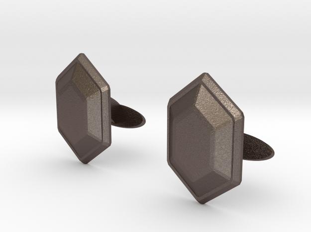 Rupee Cufflinks in Polished Bronzed Silver Steel