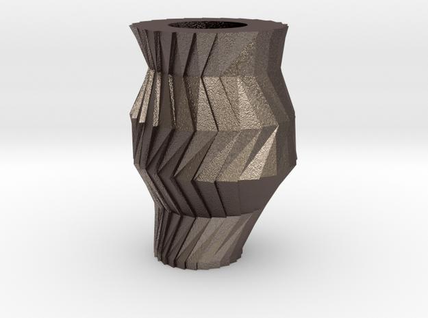 Gear Vase in Polished Bronzed Silver Steel