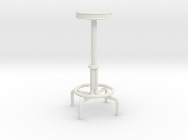 "1:24 Drafting Stool 42"" Tall in White Natural Versatile Plastic"