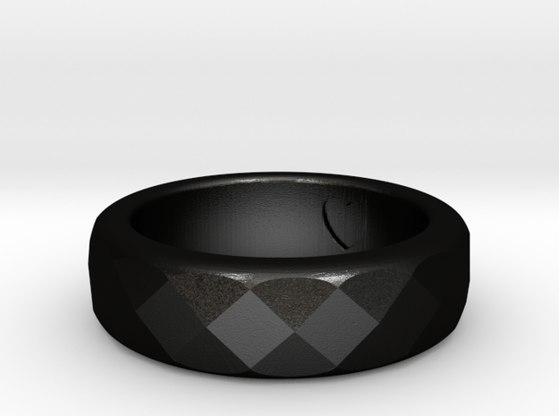 Faceted Ring  in Matte Black Steel
