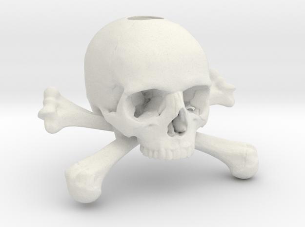 35mm 1.4in Keychain Skull & Bones Bead in White Natural Versatile Plastic